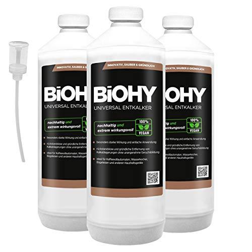 BIOHY universele vloeibare ontkalker 3 x 1 liter flessen + doseerder, concentraat voor ca. 20 ontkalkingsprocessen | voor alle koffieautomaten, espresso- en koffiezetapparaten, zoals Delonghi, Saeco, Philips.
