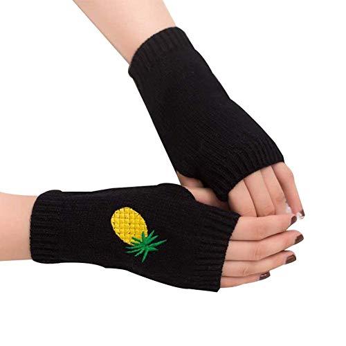 HaiDean Dameshandschoenen Ananas Embroidery warme knuffelige Jongens wanten Chic gebreide handschoenen Half wanten