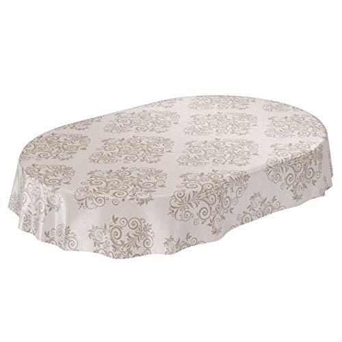 ANRO Wachstuchtischdecke Wachstuch Wachstischdecke Tischdecke abwaschbar Ranken Barock Arabeske Beige Oval 140 x 180cm