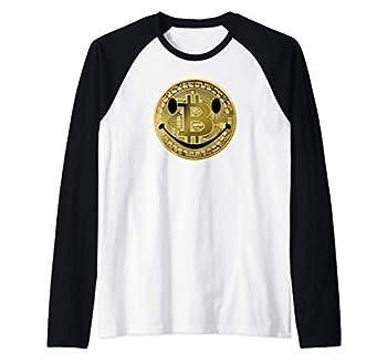 BITCOIN Smiley Face Crypto Satoshi Nakamoto BTC Token Raglan Baseball Tee