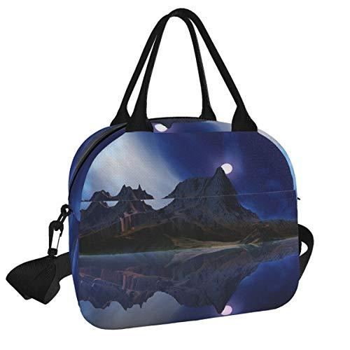 Moonrise Accension Island David Jackson - Bolsa de picnic reutilizable para el almuerzo, con correa para el hombro, para el trabajo, la escuela, la playa
