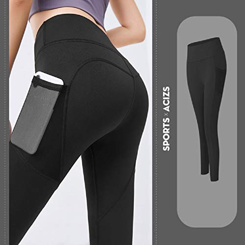 UMIPUBO Yoga Pants for Women with Pockets Gym Leggings High Waisted Sports Leggings Tummy Control Workout Running Stretching Tights with 2 Pocket Black