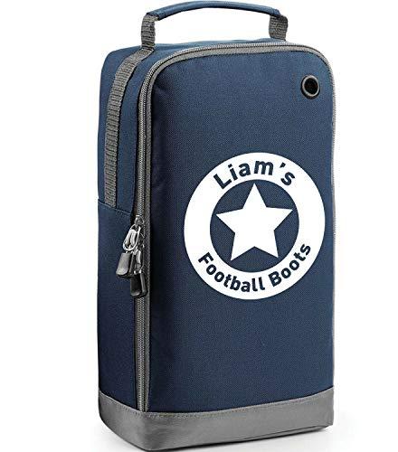 Fußballschuh-Tasche, personalisierbar, Marineblau / Weiß Druck 2