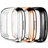 Maledan Compatible with Fitbit Versa 2 Screen Protector Case, Ultra Thin Full Protective Case Cover Scratch Resistant Shock Absorbing for Versa 2 Accessories, 3 Pack Black/Silver/Rose Gold
