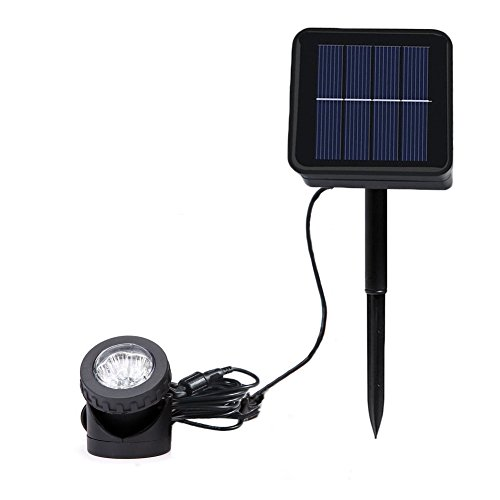 Aveki Solar LED Landscape Spotlight,Waterproof 6 LEDs Pond Light Underwater Light Adjustable Lighting Angle,Security Lighting Dark Sensing Auto On/Off for Outdoor Garden Courtyard Lawn Fish Tank Pool