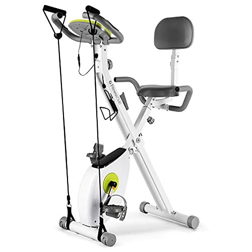 FitnessClub Fitnessbike Heimtrainer Klappbar, X-bike Fitnessfahrrad mit Rückenlehne, Höhenverstellbar, 8 magnetische Widerstandseinstellungen, Handpulsmessung und LCD Monitor, inkl. Spannungsseil