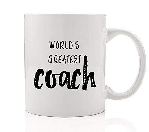 YHJUI El mejor entrenador del mundo Taza de café Idea de regalo Niñas Niños Colegio High School Baloncesto Béisbol Fútbol Fútbol Hockey Gimnasia Deportes deportivos Atletismo Taza de té de cerámica de
