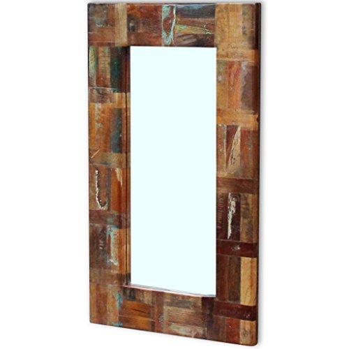 Festnight Retro-Style Spiegel Badspiegel aus Recyceltes Massivholz und Glas Holzrahmenspiegel 50 x 80 cm