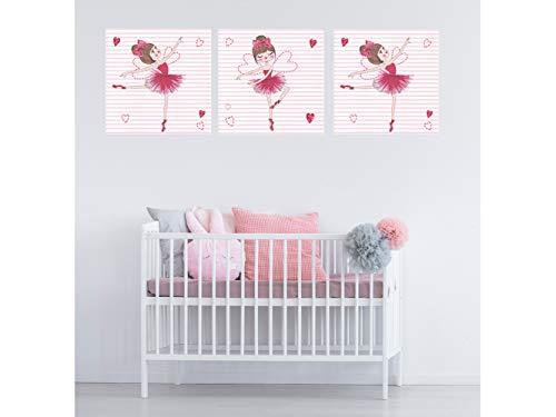Oedim Pack de 3 Cuadros Infantiles Cartón Ecológico Bailarinas | 40 x 40 cm | Decoración Habitación | Multicolor | Diseño Elegante | Cantos Impresos |