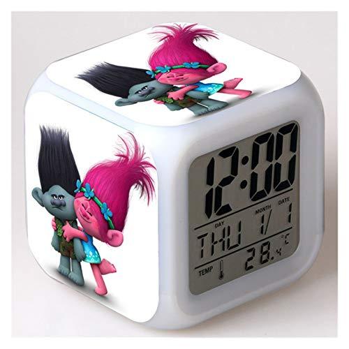 yywl Reloj Despertador Reloj Despertador Niños Dibujos Animados Color Cambio de Noche LED LED Digital Reloj de Escritorio electrónico Reloj (Color : Purple)