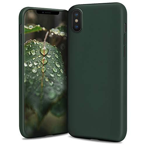 Moozy Lifestyle. Funda para iPhone X y iPhone XS, Verde Oscuro - Cover Carcasa de Silicona Líquida con Acabado Mate y Forro de Microfibra Suave