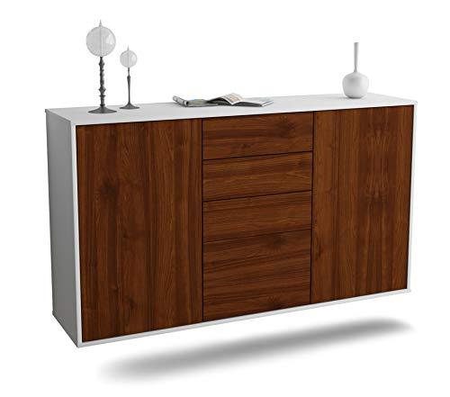Dekati Sideboard Sioux Falls hängend (136x77x35cm) Korpus Weiss matt | Front Holz-Design Walnuss | Push-to-Open | Leichtlaufschienen