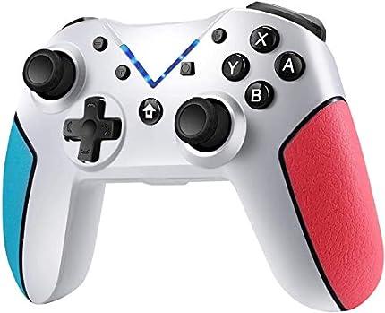 Jamswall Mando Compatible para Nintendo Switch, Controlador Inalámbrico Bluetooth Apoya Vibración, Turbo y Giroscopio, Gamepad Compatible para Nintendo Switch/Lite/Android/PS3/PC (Blanco)