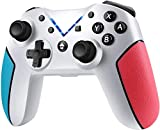 JAMSWALL Mando Compatible para Nintendo Switch, Controlador Inalámbrico Bluetooth Apoya Vibración, Turbo y Giroscopio, Gamepad Compatible para Nintendo Switch/Lite/Android/PS3/PC (Blanco)
