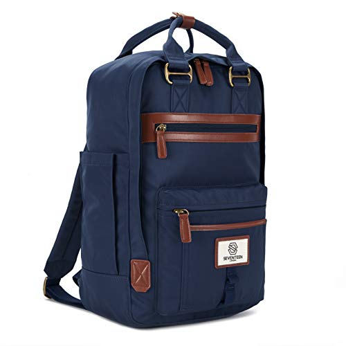 """SEVENTEEN LONDON – Modern Urban Unisex Navy 'Wimbledon' Backpack in a Classic Slim Simple Design – Fits Laptop up to 13"""""""