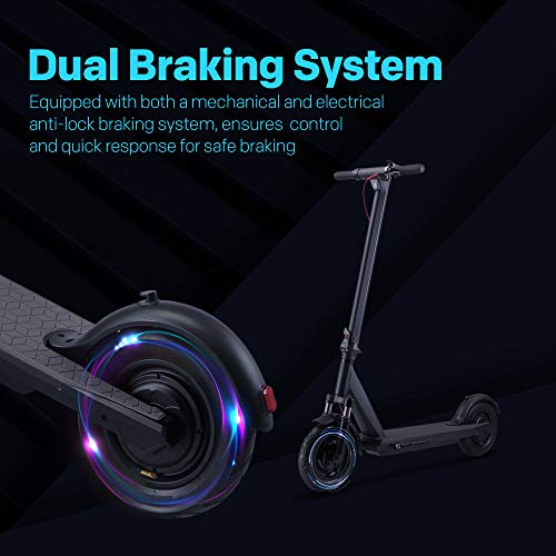 """QINGOR Electric Scooter Powerful 350W Motor 10"""" Solid Tires One-Step Fold for Adults, Upgraded Adult Electric Scooters with Long Range Battery, Lightweight and Foldable for Commute and Travel"""
