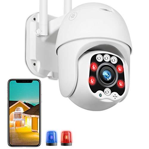WiFi Cámara PTZ Cámara IP de Vigilancia Exterior High-Definition 1080P Visión Nocturna en Color,355°/90°Rotación,Etección de Movimiento,Impermeable IP66,Audio Bidireccional,Alerta de APP 【Cámara+32G】