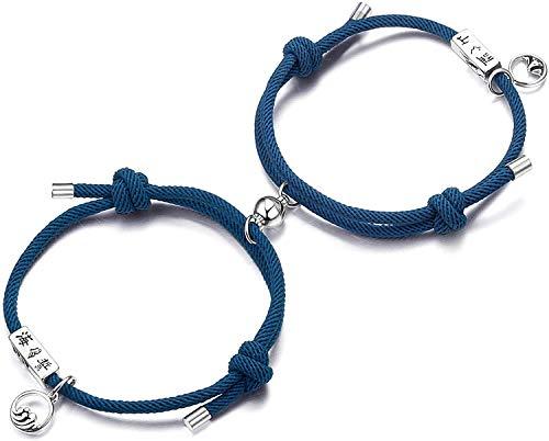 Milacolato 2PCS Coppia Braccialetto Magnetico Set Attrazione reciproca Corda Intrecciata Braccialetti Ciondolo Regolabile Coppia Gioielli Set per Donna Uomo