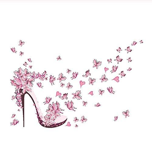 Zhaoyangeng Afneembare roze schoenen met hoge hakken en muurstickers van vlindervinyl
