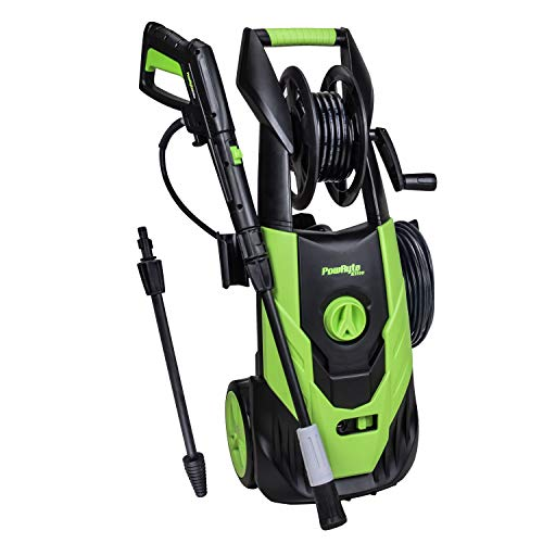 PowRyte 2100 PSI 1.80 GPM Electric Pressure Washer, Electric Power Washer with Hose Reel, Stepless Angle Adjustment Spray Nozzle, Extra Turbo Nozzle (2100PSI with Hose Reel)
