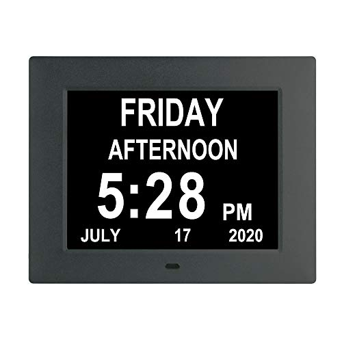Johnziny 7inch-Digital Calendar Day Clock- 8 Alarms Auto-Dim Battery Backup Extra Large Non-Abbreviated Dementia Clocks Alzheimer Memory Loss Vision Impaired Alarm Clock for Seniors Elderly(Black)