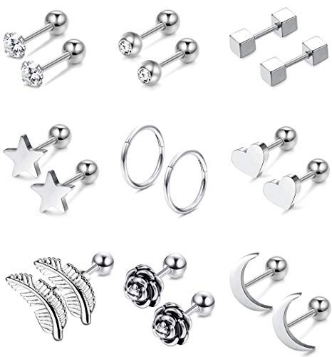 Jstyle 9Pairs 316L Surgical Steel Ear Cartilage Stud Earrings for Men Women CZ Barbell Helix Tragus Stud Piercings Jewelry
