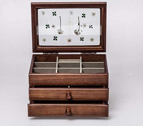 Flores secas Series de múltiples compartimentos Caja de almacenamiento de joyería de madera retro creativo, a