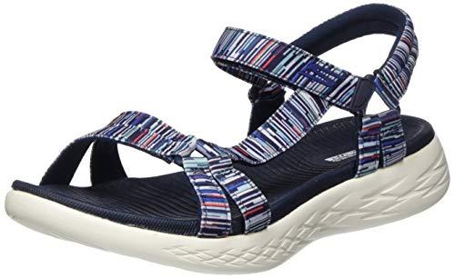 Skechers On-The-go 600, Sandalias de Punta Descubierta Mujer, Multicolor (Navy/Multi Textile Nvmt), 39 EU