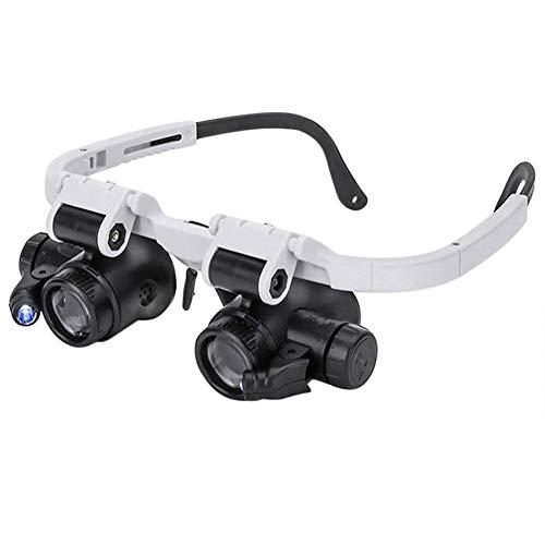 Lente d'ingrandimento per occhiali a LED 8x 15x 23x Lente d'ingrandimento binoculare regolabile, Lenti d'ingrandimento illuminate montate sulla testa per la lettura, Lente per gioielli