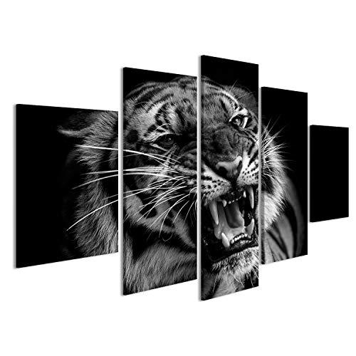 Bild Bilder auf Leinwand Sumatra Tiger Brüllend Wandbild Leinwandbild Poster