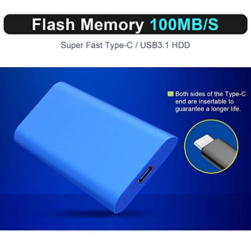 Disco Duro Externo 2 TB, Portátil USB-C HDD para PC, Mac, Xbox One, MacBook, Desktop, Laptop, Chromebook.(2TB,Azul) miniatura