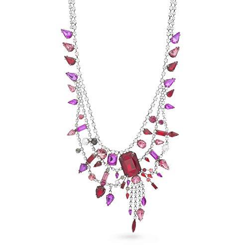Steve Madden Women's Red and Pink Triple Layer Fringe Design Gunmetal-Tone Bib Necklace