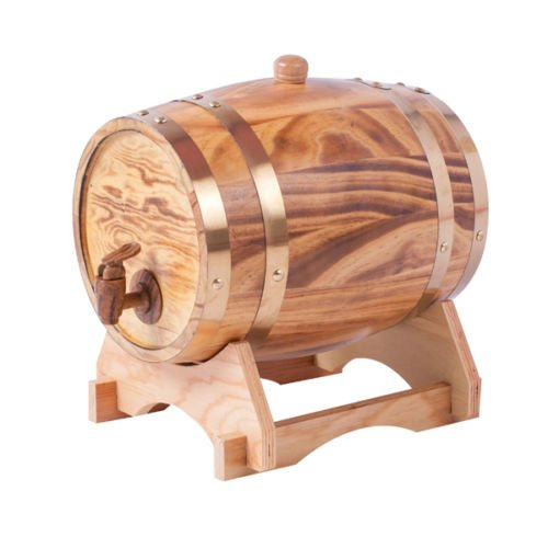 1.5L Oak Aging Barrels Whiskey Barrel Dispenser Home Wine Bucket Whiskey Barrel for Wine, Spirits, Beer, and Liquor Light Yellow (with baked oak chips)