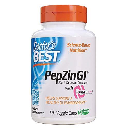 Doctor's Best, PepZinGI ( Zink Carnosin Komplex mit Pepzin), 120 Kapseln | Vegan | Ohne Gentechnik | Glutenfrei | Sojafrei