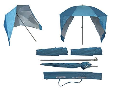 Sombrilla de Playa con Paneles Laterales Tipo Tienda/Paravientos, UPF+50 99% UV 180 CM (Azul)