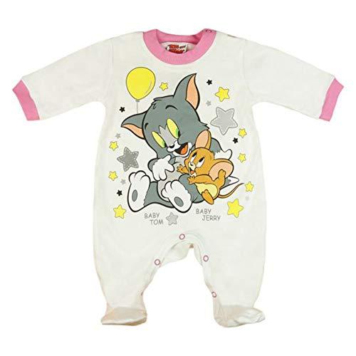 Langarm Baby Mädchen Strampler mit Fuß (ab 74 ohne) in Größe 56 62 68 74 80 86, Tom und Jerry Motiv * 100% Baumwolle* Schlafanzug, Schlaf-Overall Größe 74, Farbe Modell 2