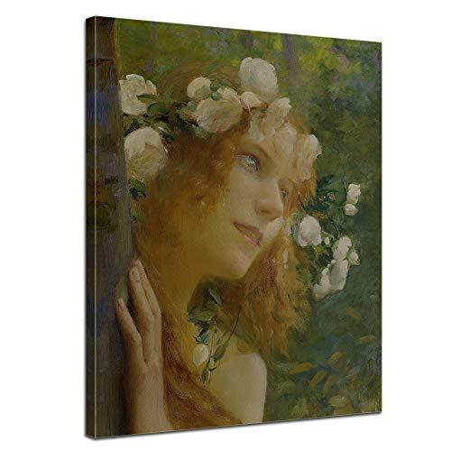 Leinwandbild Gaston Bussière Nymphe - 90x120cm hochkant - Keilrahmenbild Alte Meister Kunstdruck Bild auf Leinwand Berühmte Gemälde