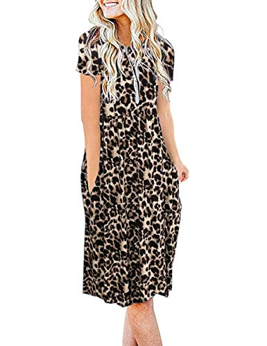 AUSELILY Women's Short Sleeve Pockets Empire Waist Pleated Loose Swing Casual Flare Dress (S, Spotted Pattern Leopard)