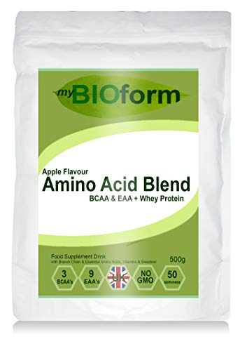 Amino Acid Blend + Whey Protein Powder - Apple Flavour - 500g - 50 Servings - BCAA's & EAA's - Branch Chain & Essential Amino Acid Blend - myBIOform - Made in The UK