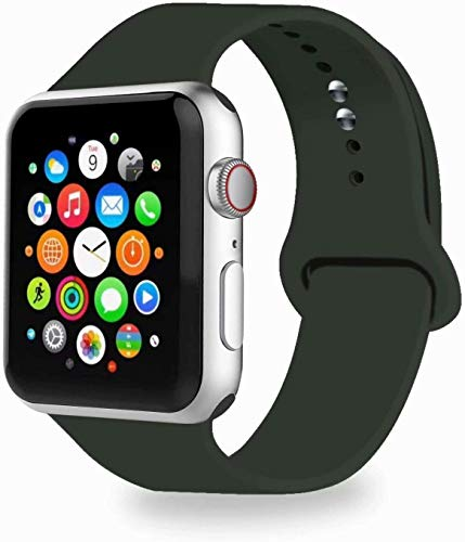 VIKATech Correa de Repuesto Compatible con Apple Watch de 44 mm 42 mm, Correa de Silicona Suave de Repuesto para iWatch Series 5/4/3/2/1, M/L, Aceituna Oscura