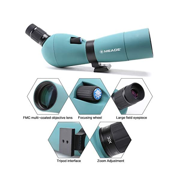 Meade 15-45x65 Zoom Waterproof Spotting Scope,with Tripod & Canon Photography Adapter, Monocular for Birdwatching Target Shooting Archery Outdoor Activities