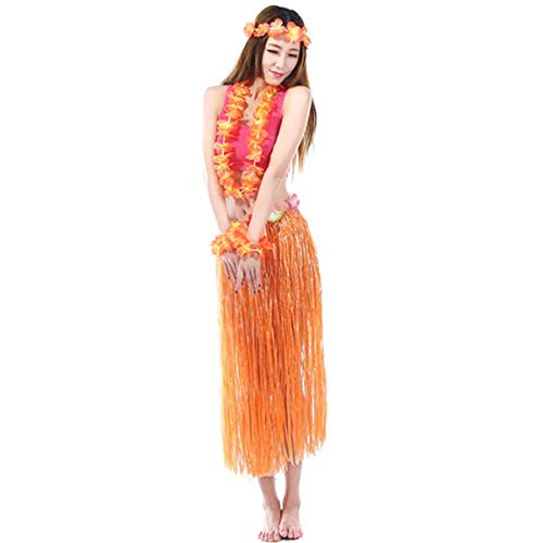 BJ-SHOP Hawaii Set,Kostüm Hawaii Damen Mit Blumenstirnband Garland Wrist Flower und Rock Hawaiian Grass Rock für Mädchen Frauen Hawaiian Luau Beach Party