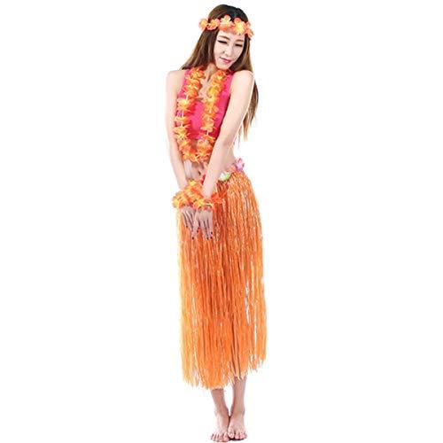 BJ-SHOP Gonna Hawaiana,Gonna Hawaiana Donna con Fiore Fascia Ghirlanda Polso Fiore e Gonna Gonna di Erba Hawaiana per Ragazze Donne Hawaiana Luau Beach Party