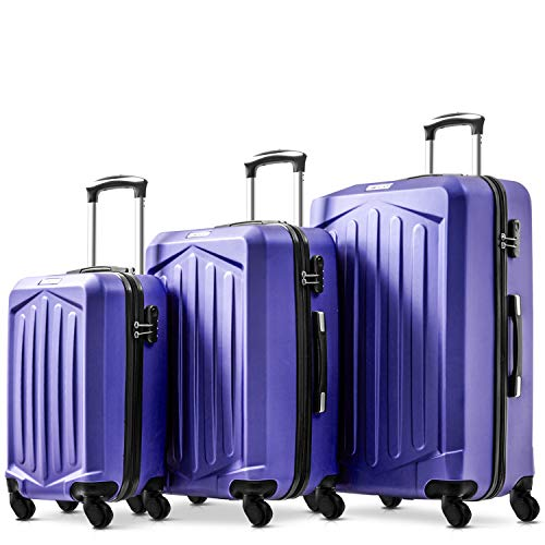 Nyyi Hard Shell Suitcases, Luggage Sets 3 Piece Lightweight 4 Wheels, Travel Case Hand Luggage Cabin, |with Lock(Purple)