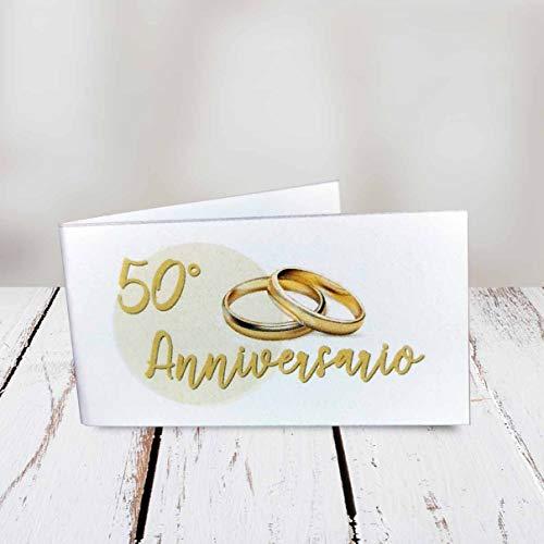 kamiustore Bigliettini 50° Anniversario di Matrimonio neutri - Set da 20, 50, 100 Pezzi (20 bigliettini)