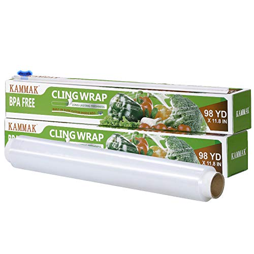 Plastic Wrap with Slide Cutter 12 Inch X 295 Feet Roll KAMMAK Cling Wrap for Food BPA-Free Microwave-Safe Kitchens Quick Cut Food Service Film (Pack of 2)