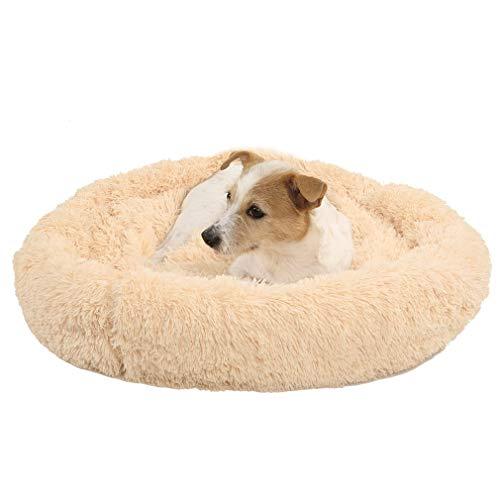 ASFD Cama para Perros Cómoda Colcha para Abrazos de donas Cama Redonda para Mascotas Cama súper Suave y Lavable para Perros y Gatos Accesorios para Mascotas (Beige marrón 60cm)
