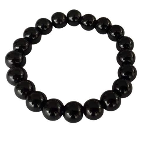 Natuxia Schwarzer Turmalin Armband, EMF Schutz Armband Damen/Herren, Erdendes Chakra Armband, Schörl anti-EMF Armband