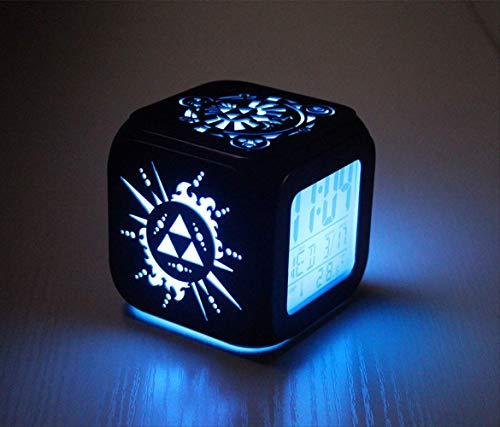 CHENGL Zelda 3D Stereo Kleiner Wecker, Elektronische Uhr, Student Led Kleine Nachtlicht Bett Kopfuhr 8,8 cm Schwarze Schale