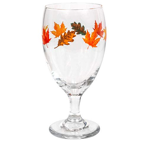Water Goblets Set of 4 Multi Purpose 16 oz. Goblets-Glasses Adorned with Colorful Fall Leaves, Perfect size as Iced Tea Goblets, Wine, Cocktails,Seltzer and other Mixed Drinks. (4)